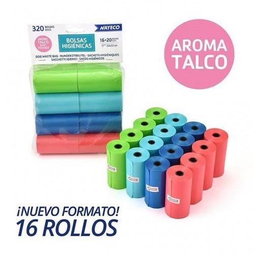 BOLSA HIGIENICA 16 ROLLOS 20 BOLSAS AROMA TALCO