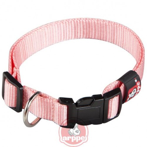 COLLAR NYLON BASIC T.10 15-25 CM ROSA