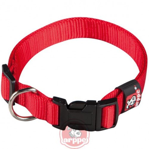 COLLAR NYLON BASIC T.45 2.5x30-44 CM ROJO